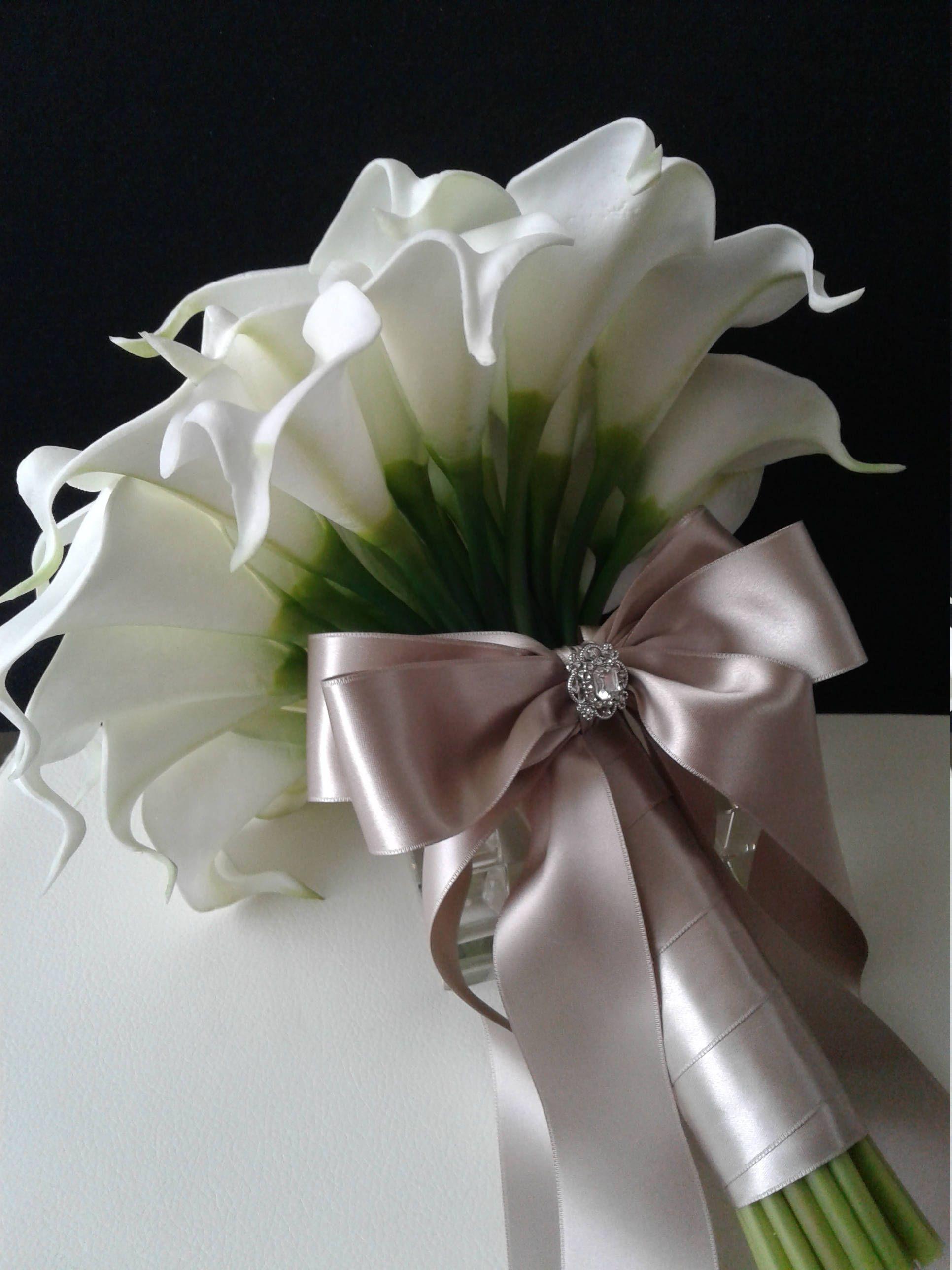 Champagne Wedding Bouquet Real Touch Calla Lily Bouquet With