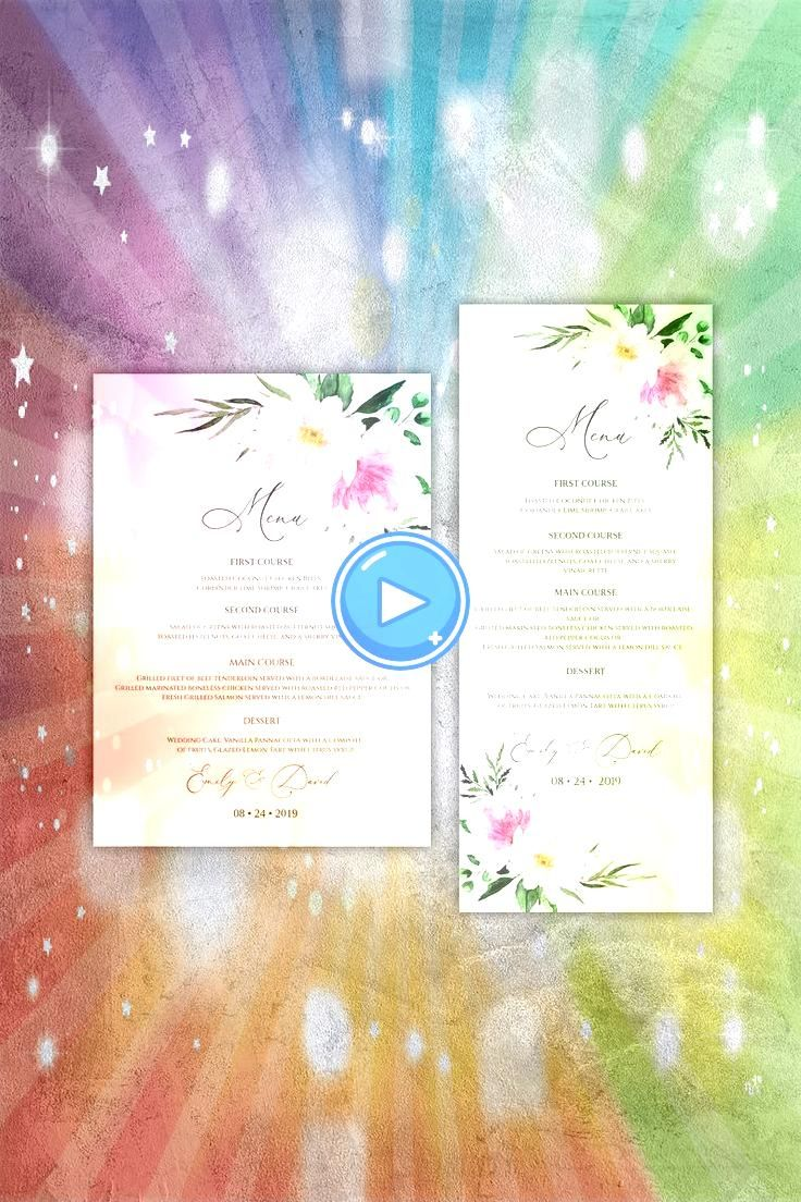 Wedding Menu Template Watercolor Peony Wedding Menu Cards Menu Car Calligraphy Wedding Menu Template Watercolor Peony Wedding Menu Cards Menu Car Boho Chic Wedding Invita...