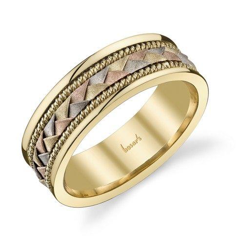 Tri Gold Men S Wedding Band With Braided Design Weddi