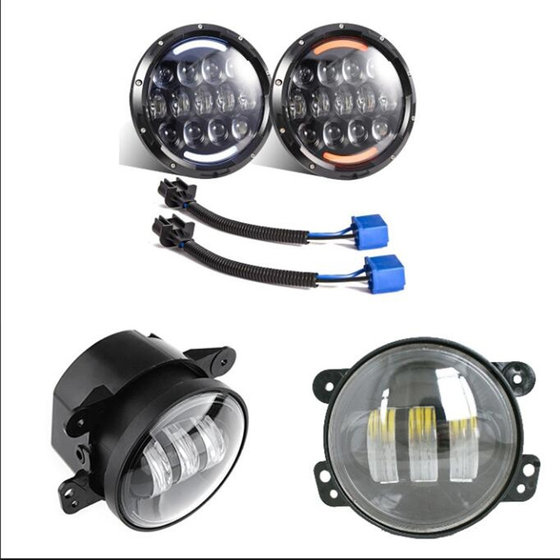 152.00$  Buy here - http://alitgz.worldwells.pw/go.php?t=32704716204 - 2 PCS 7 inch Round led headlight with White/Amber Turn signal DRL + 4'' inch 30W led fog lamp for Jeep Wrangler JK TJ Hummer