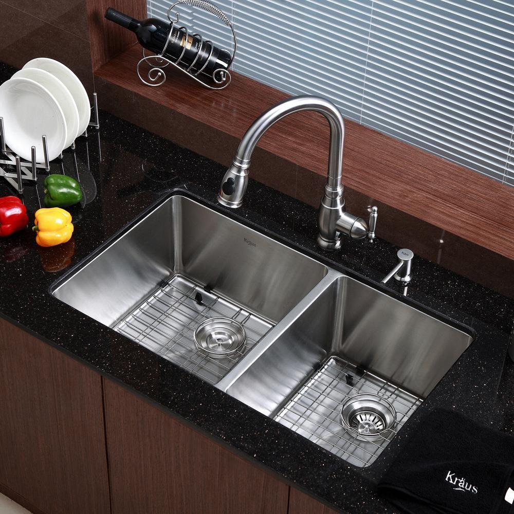 Kraus Standart Pro 33in 16 Gauge Undermount 60 40 Double Bowl Stainless Steel Kitchen Sink Khu103 33 The Home Depot Undermount Kitchen Sinks Kitchen Sink Remodel Kitchen Remodel 16 gauge undermount stainless steel sink