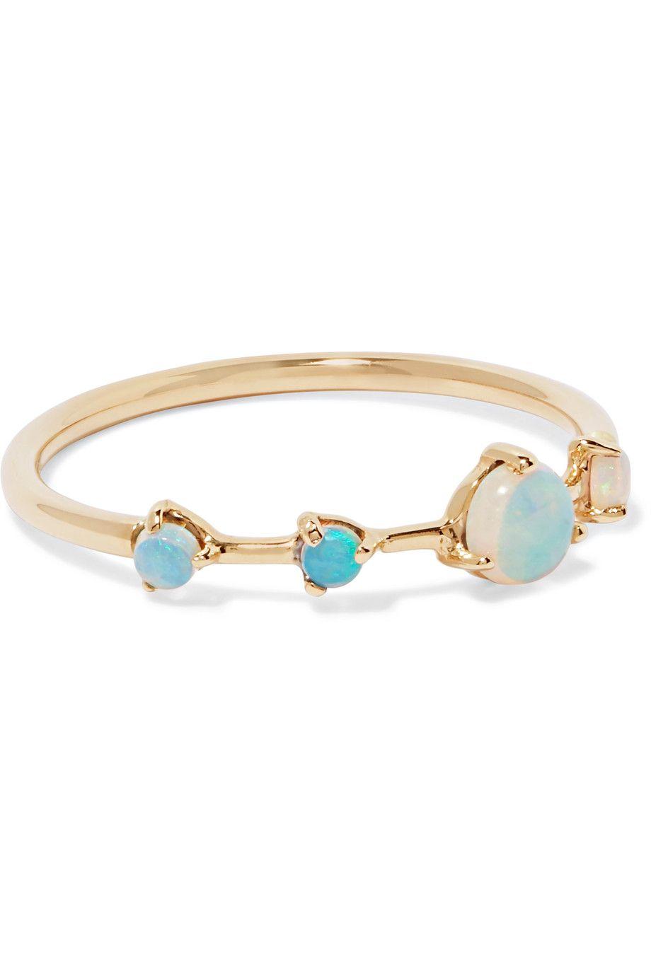 Wwake 14-karat Gold, Opal And Diamond Ring