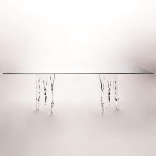 Ice 96 Acrylic Dining Table W Glass Top Glass Top Dining