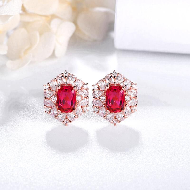 Photo of Cushion Ruby Halo Sterling Silver Stud Earrings
