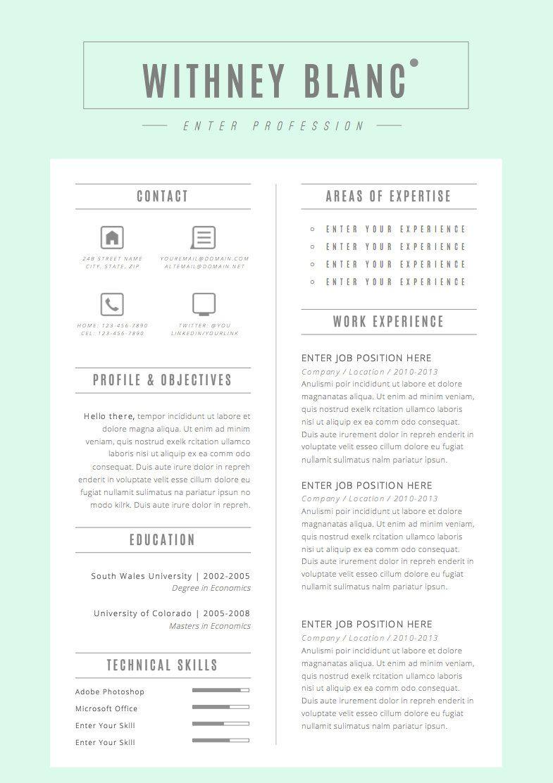 Resume Template  Cv Template Cover Letter For By Oddbitsstudio