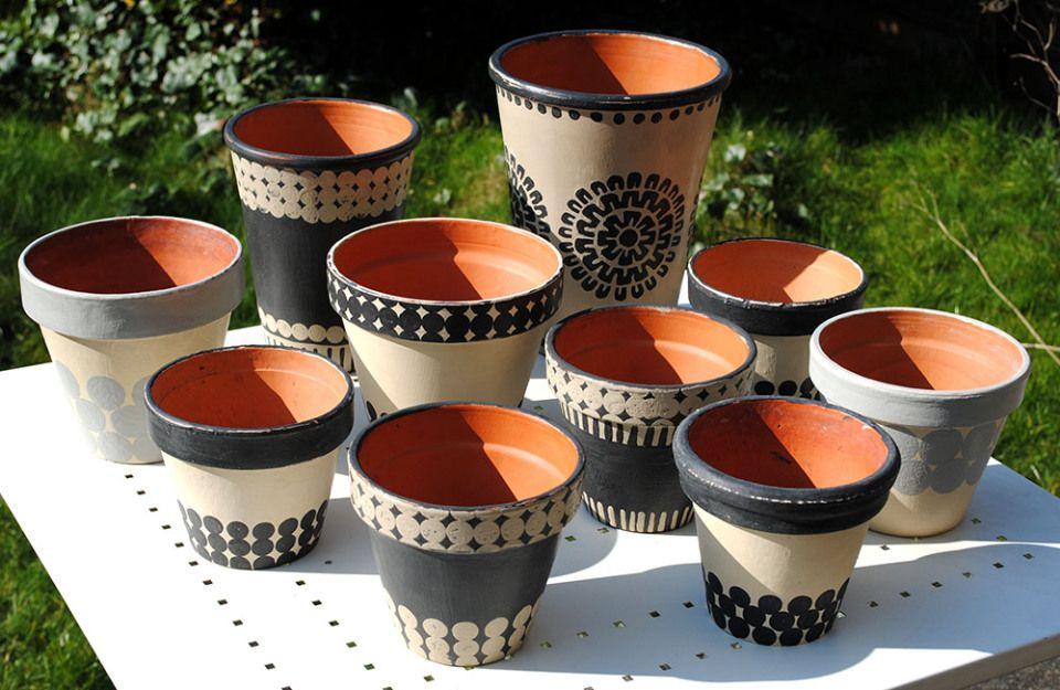 Chalk-painted flower pots