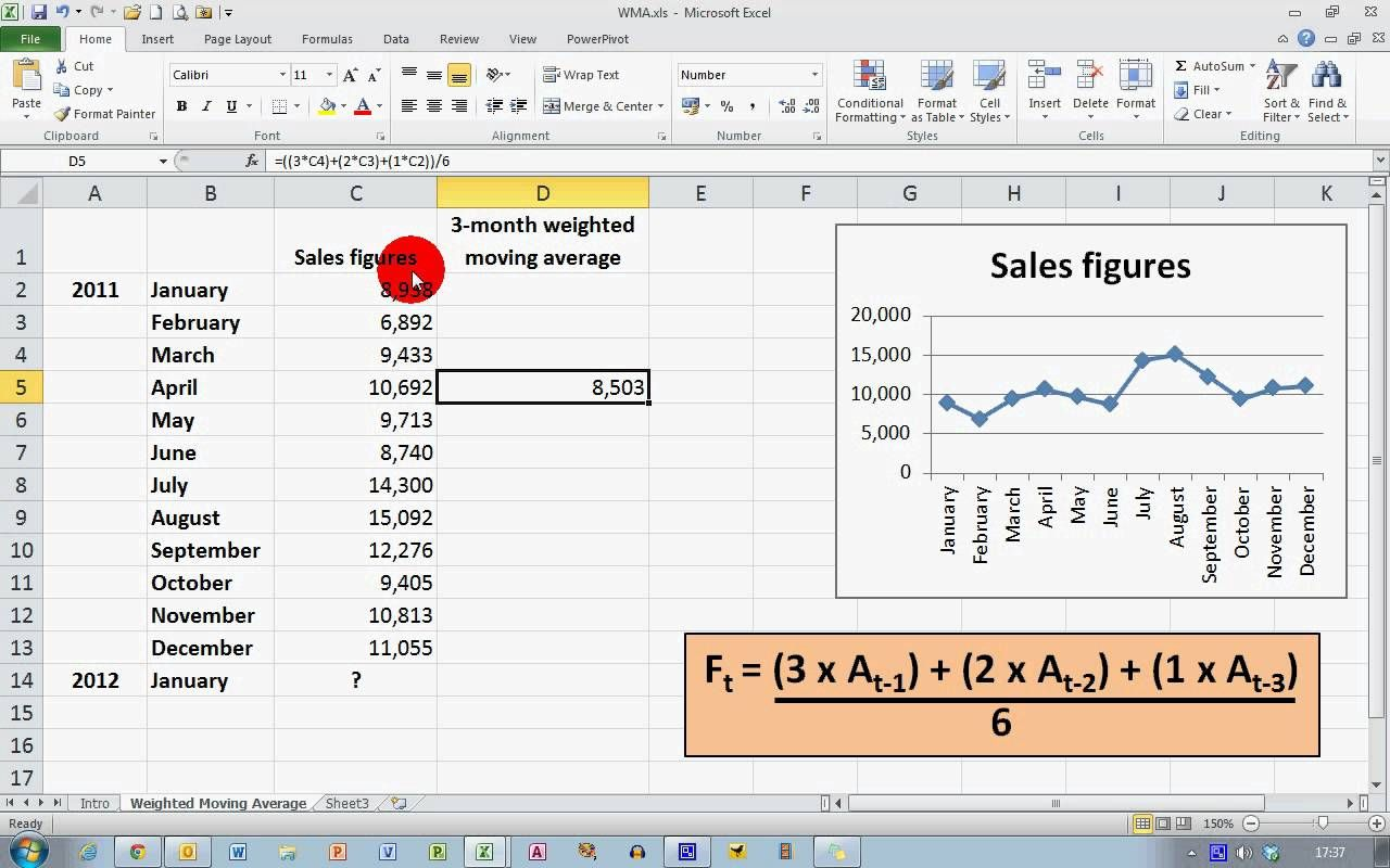 How To  Calculate A Weighted Moving Average In Excel   Hc