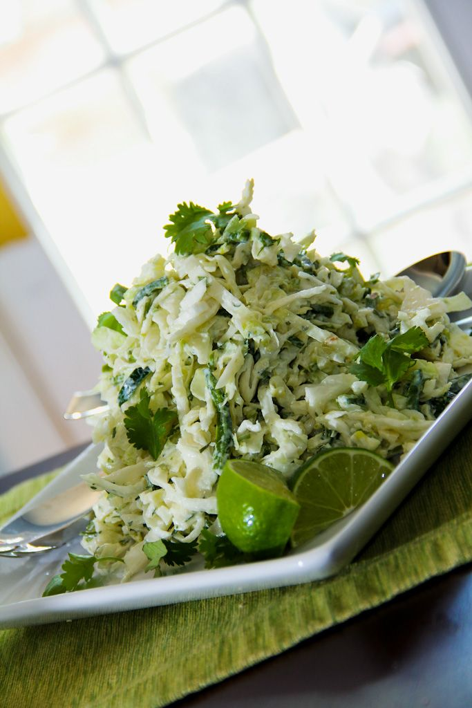 Cilantro Lime Slaw I'm not a big slaw fan, but Randy is, and he'd probably like this... We are having a BBQ in a couple of weeks, and this might be good for slaw lovers.. ;) HL #cilantrolimeslaw