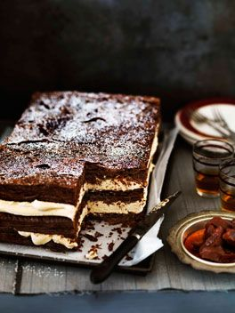 Chocolate millefeuille with burnt white chocolate cream. This recipe looks incredible.