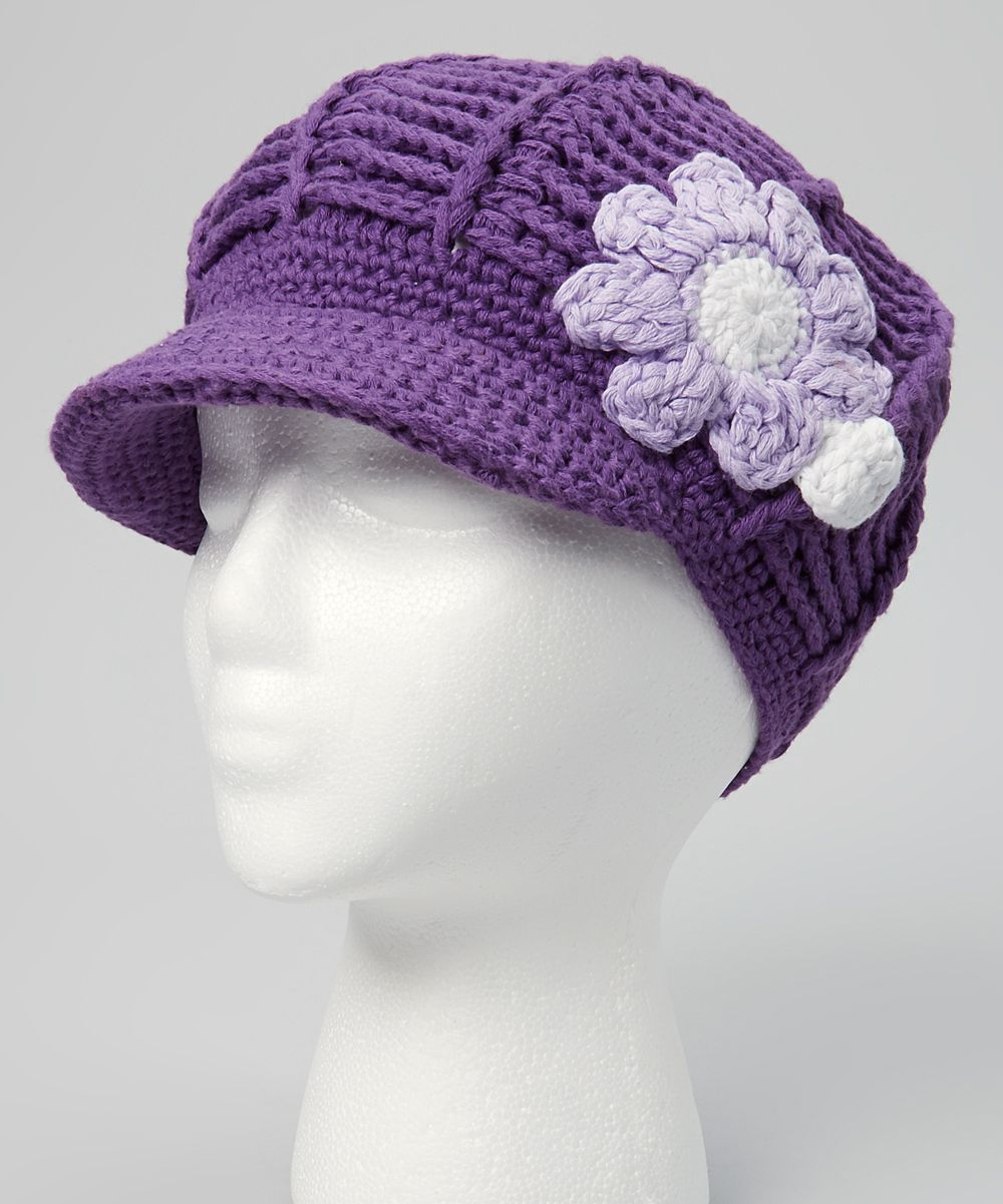 Eggplant Crocheted Newsboy Cap | "|1000|1201|?|afffb7ea0d0574cf5dc8aa69311f3da0|False|UNLIKELY|0.35318803787231445