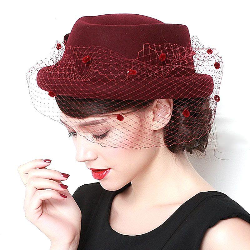 fbe8b8e82f7 High Quality Dome Fedoras Banquet Wedding Ladies Church Hats for Black  Women Formal Wool 100%