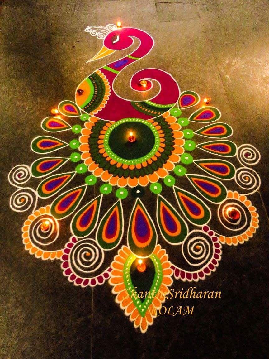 Peacock Rangoli designs images, Free hand rangoli design