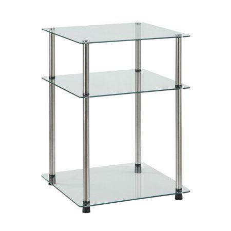 Convenience Concepts Designs2go No Tools 3 Tier End Table Glass Glass End Tables End Tables Table