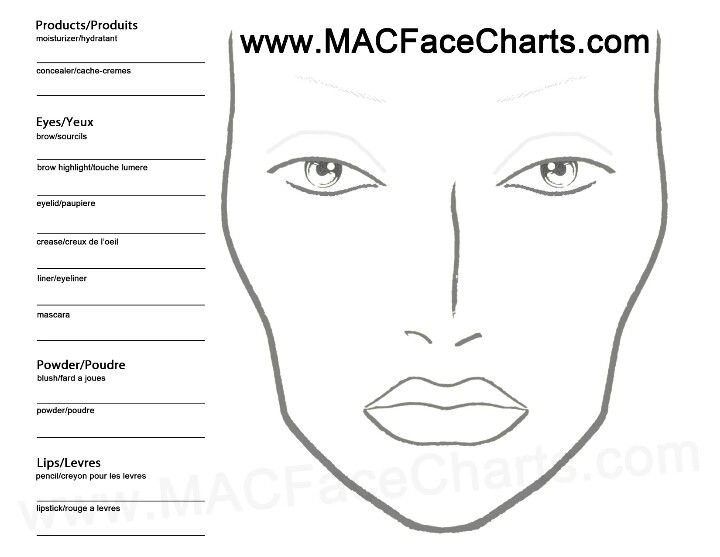 Blank Face Chart Practice