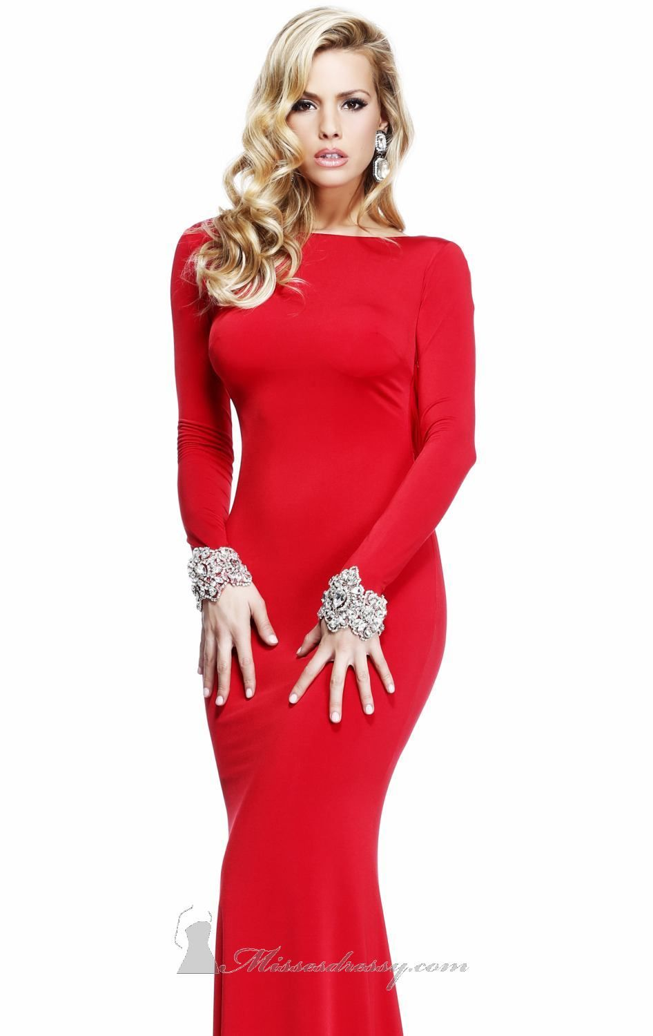 Red dress long sleeves