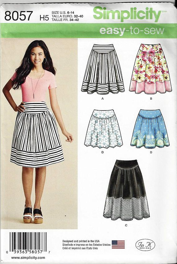 Simplicity Pattern 8057 Misses'6-14 OR 14-22 Easy-to-Sew Skirts in
