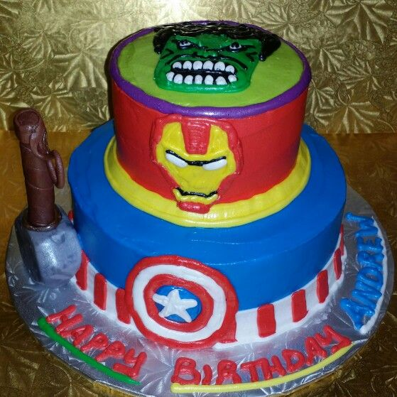 Avengers themed small 2tier cake with fondant hammer of Thor