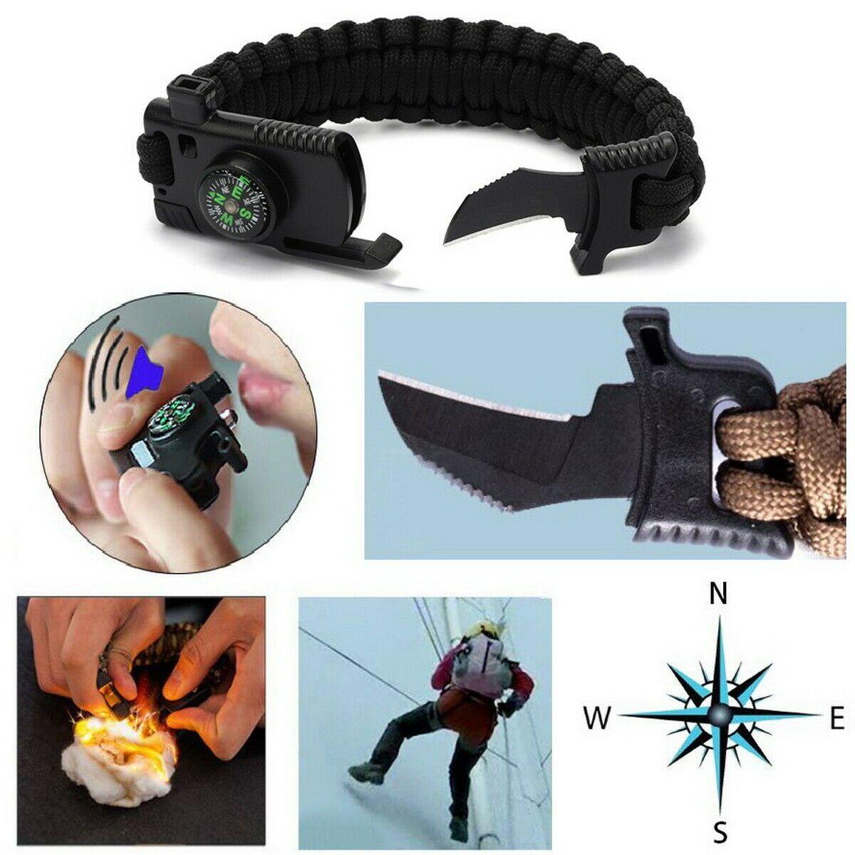 5 In 1 Paracord Survival Gear Emergency Bracelet Whistle Fire
