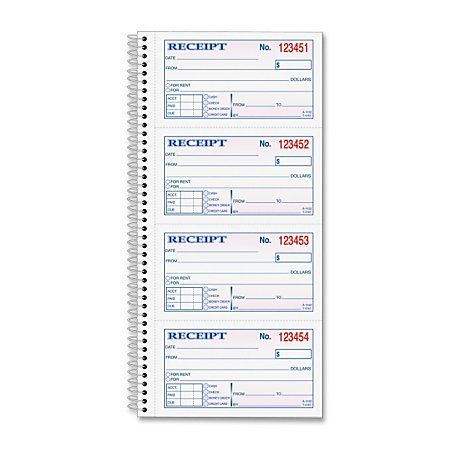 Tops Moneyrent Receipt Book 200 Sheets Wire Bound 2 Part Carbonless 11 X 5 50 Sheet Size 1each By Offic Business Money Money Online Free Report Card Template