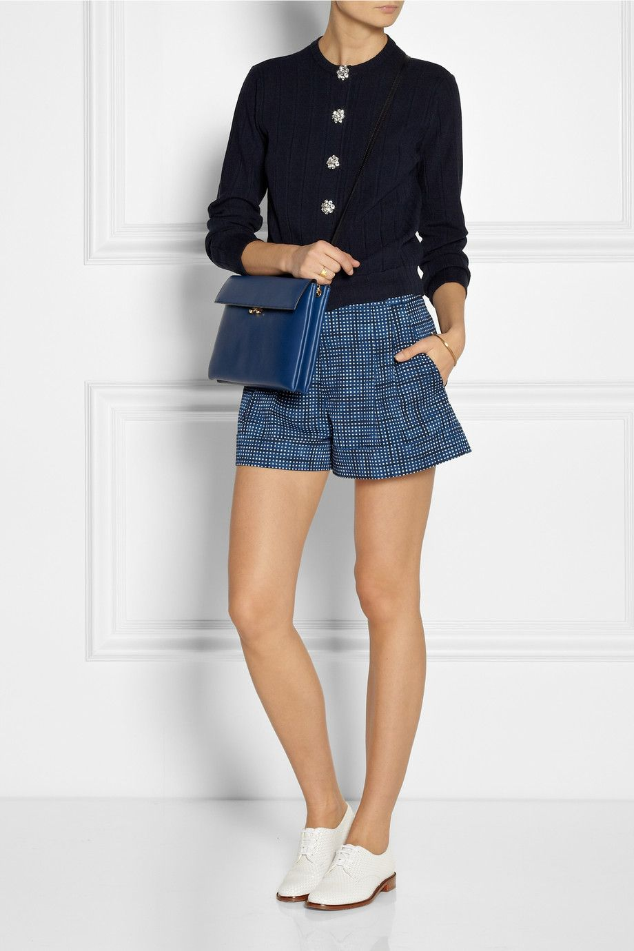 Marc Jacobs|Printed wool-twill shorts|Marc Jacobs | Wool, silk and cashmere-blend cardigan | Robert Clergerie | Embossed leather brogues | Marni | Two-compartment leather clutch