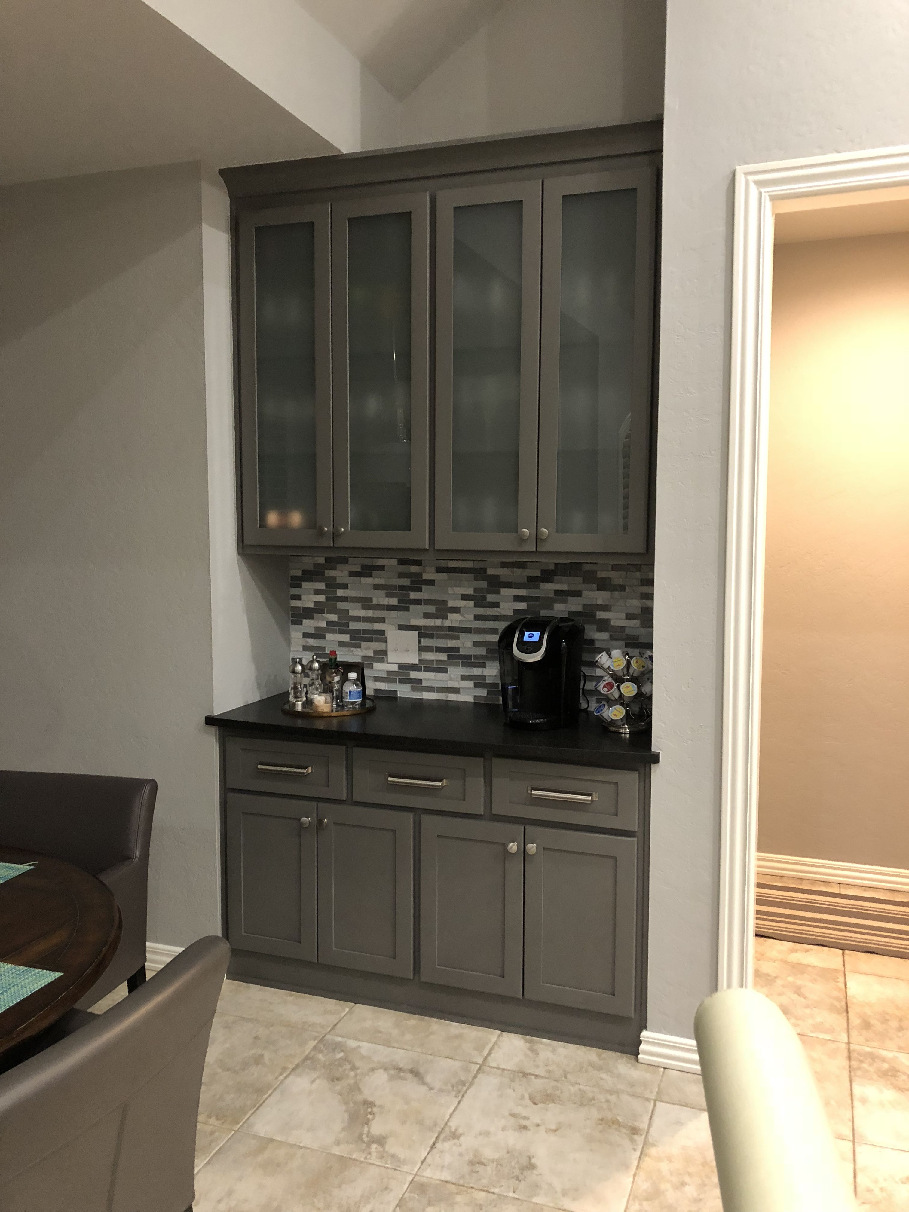 Coffee Bar New Shaker Style Gountlet Gray Sw 7019 Cabinets With