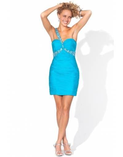 Cheap Chiffon One Shoulder Beading Wrap Column Cocktail Dress