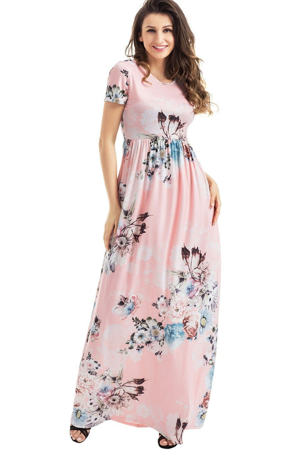 Pockets Design Short Sleeve Blush Floral Maxi Dress