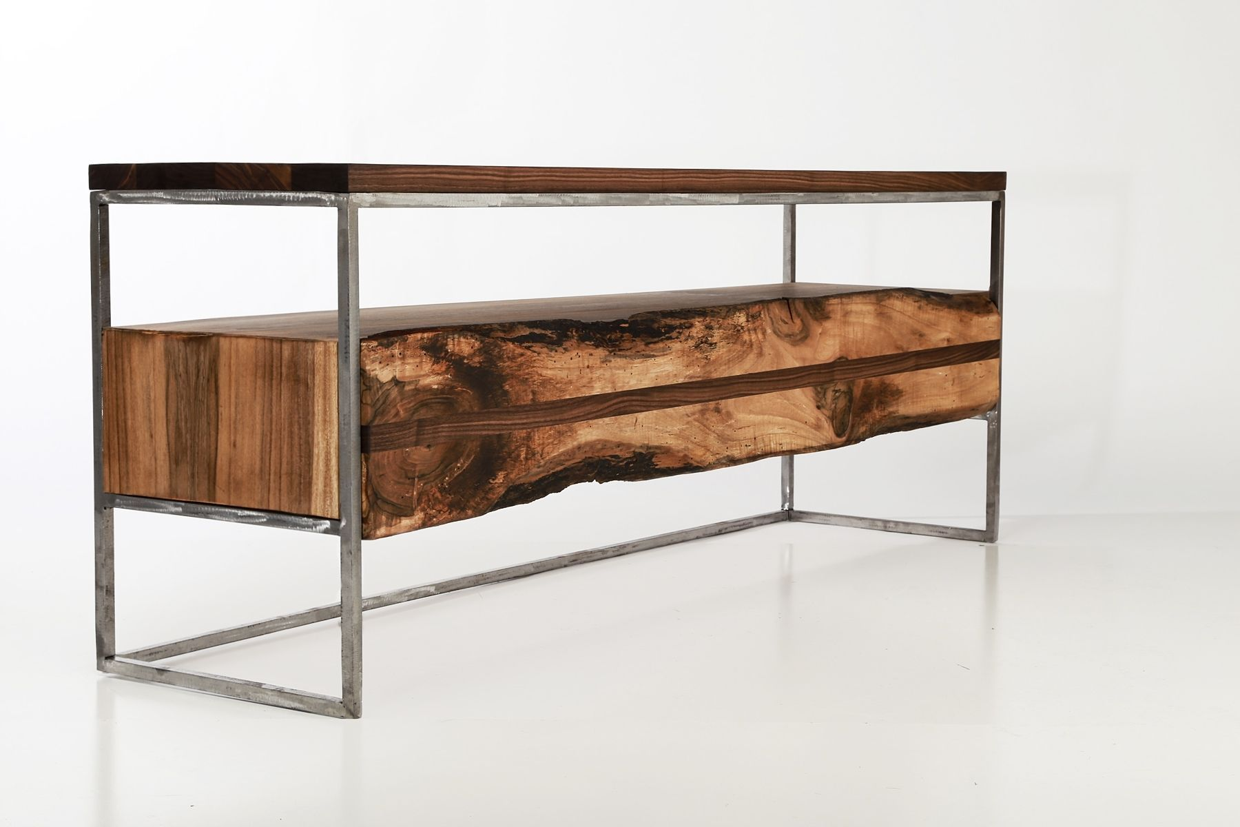 Industrial Rustic Furniture custom made flitch media console/ tv stand industrial rustic