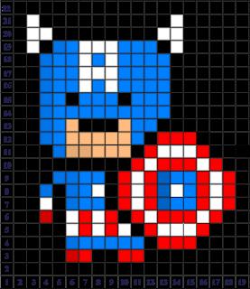 Captain America Pixel Art Grid System Coloriage Pixel