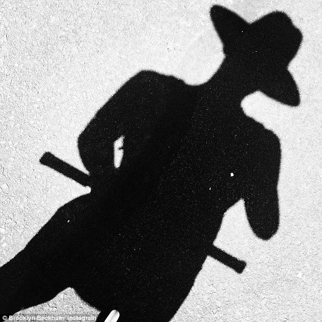 Fun: He shared a picture of his shadow as he scooted around the States