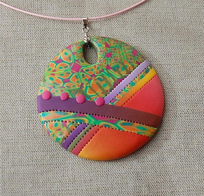 handmade polymer clay pendant