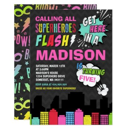 Superhero Birthday Invitation Pink Party