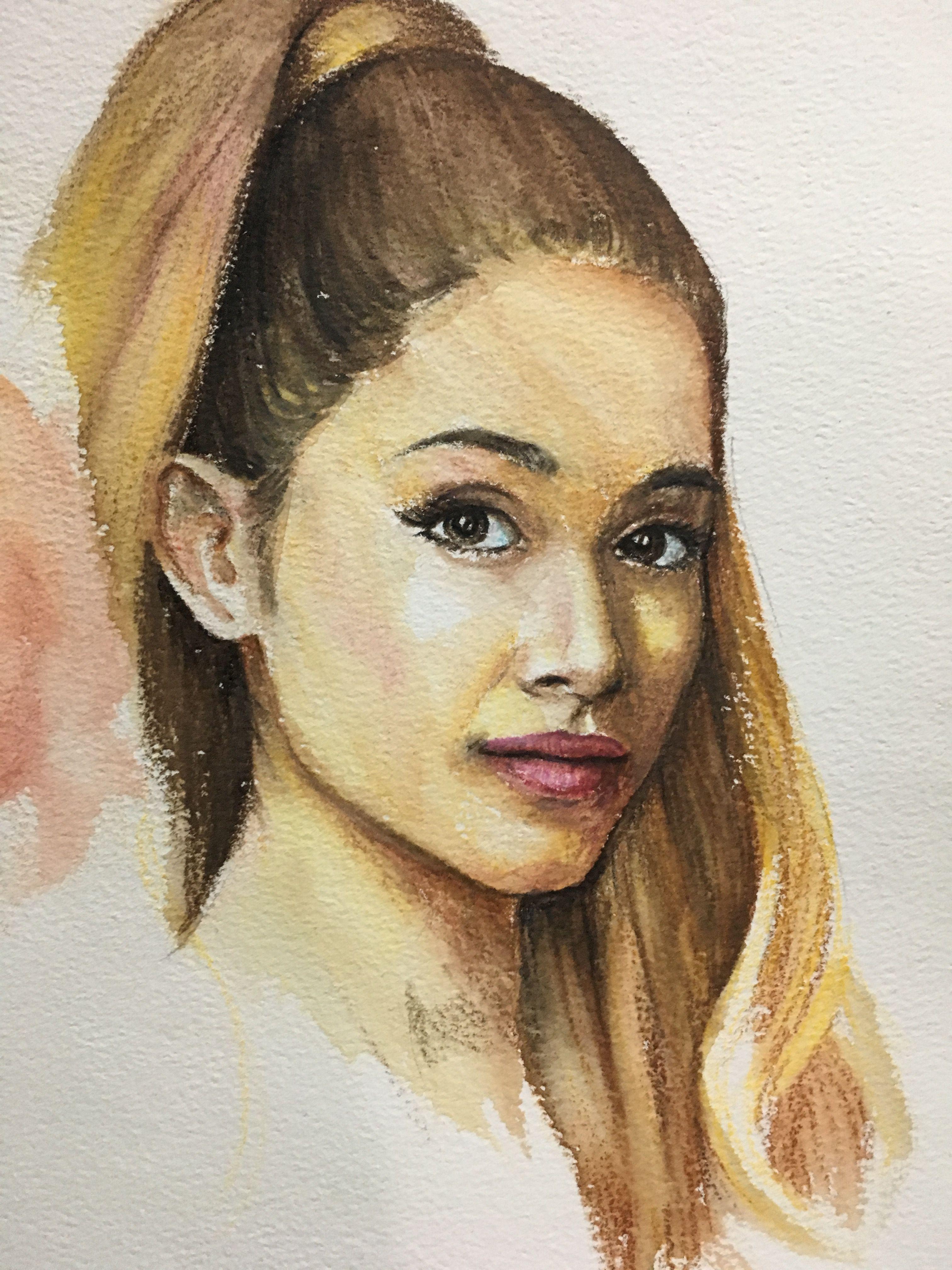 Ariana grande watercolor pencil portrait paintings in 2019