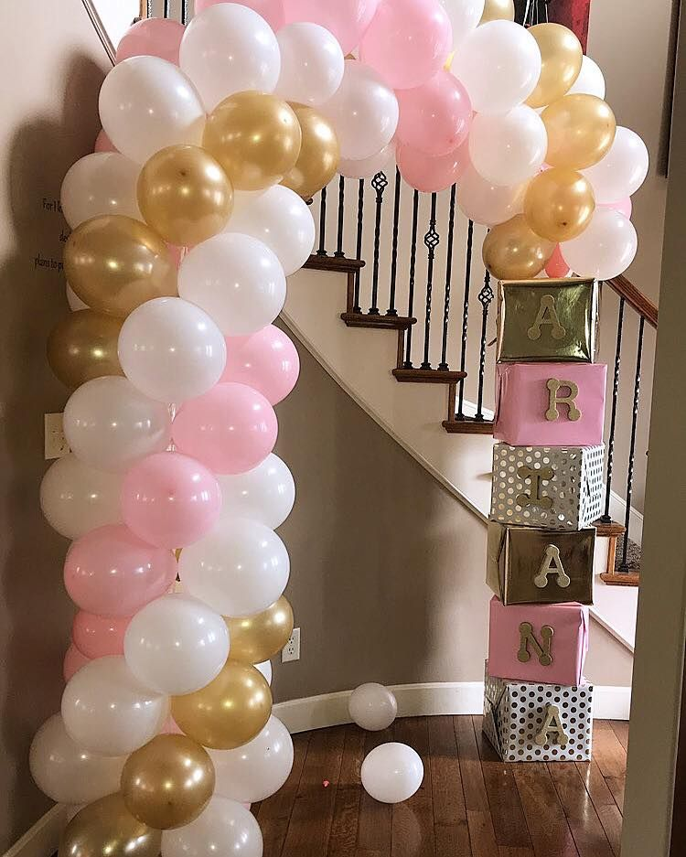 White And Pink Balloons Decor Baby Shower Balloons Baby Shower