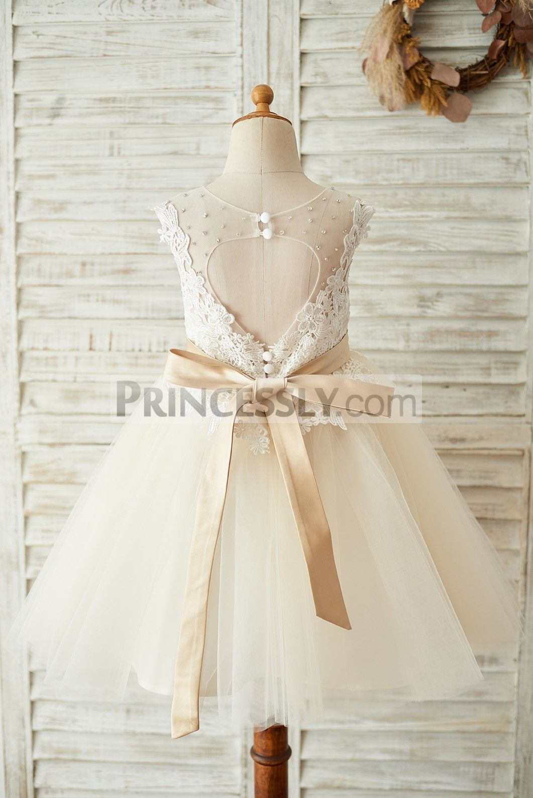 b84f81948 Princessly.com-K1003676-Ivory Lace Champagne Tulle Keyhole Back Wedding  Party Flower Girl Dress with Belt-01