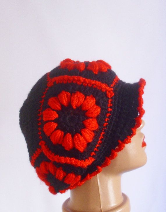 cerise handmade crochet hat with black and red  by modelknitting, $23.00