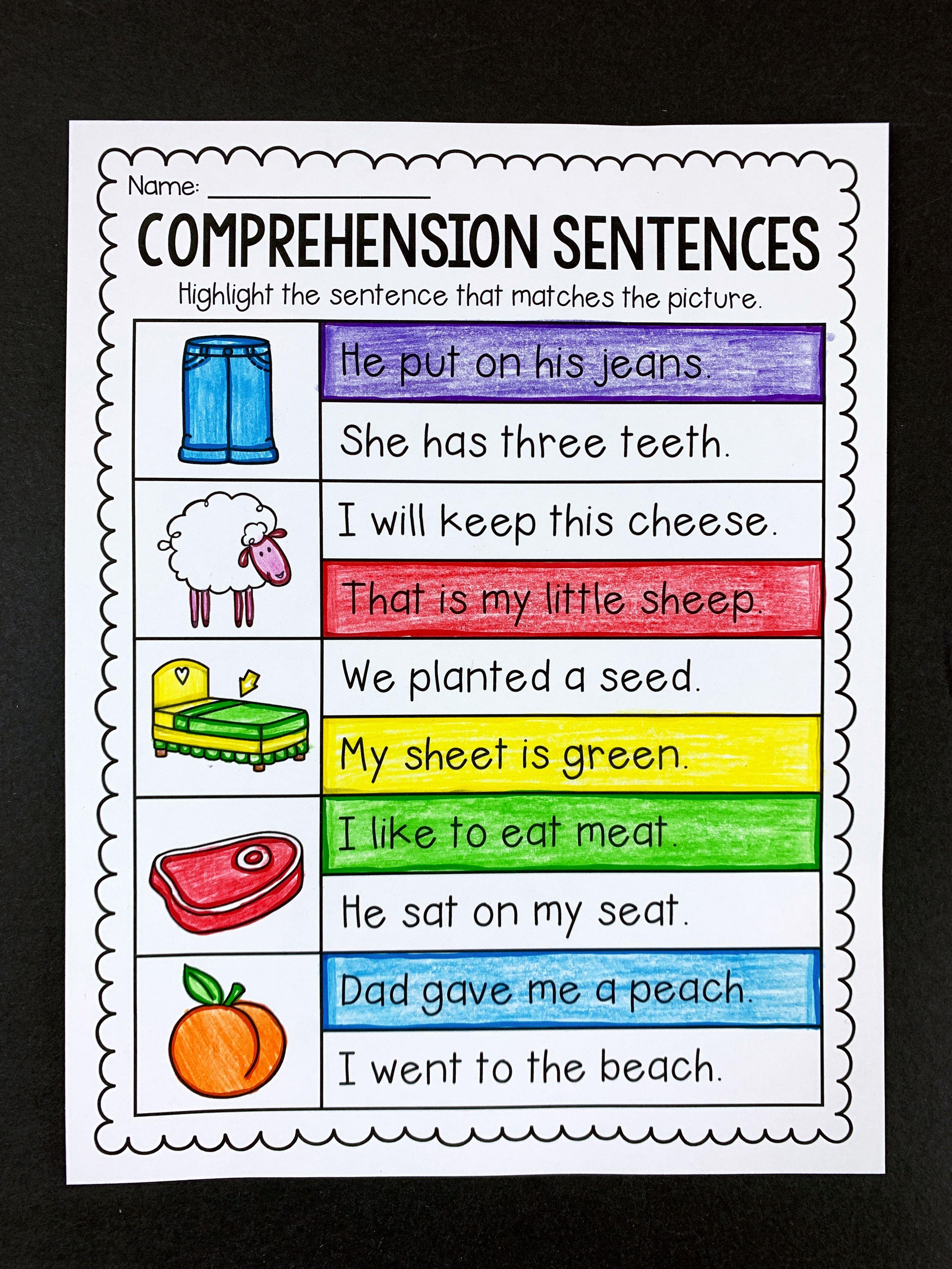 Comprehension Sentences Worksheets