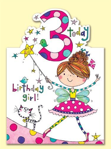 Rachel Ellen Age 3 Fairy Birthday Card Amazoncouk Office Products