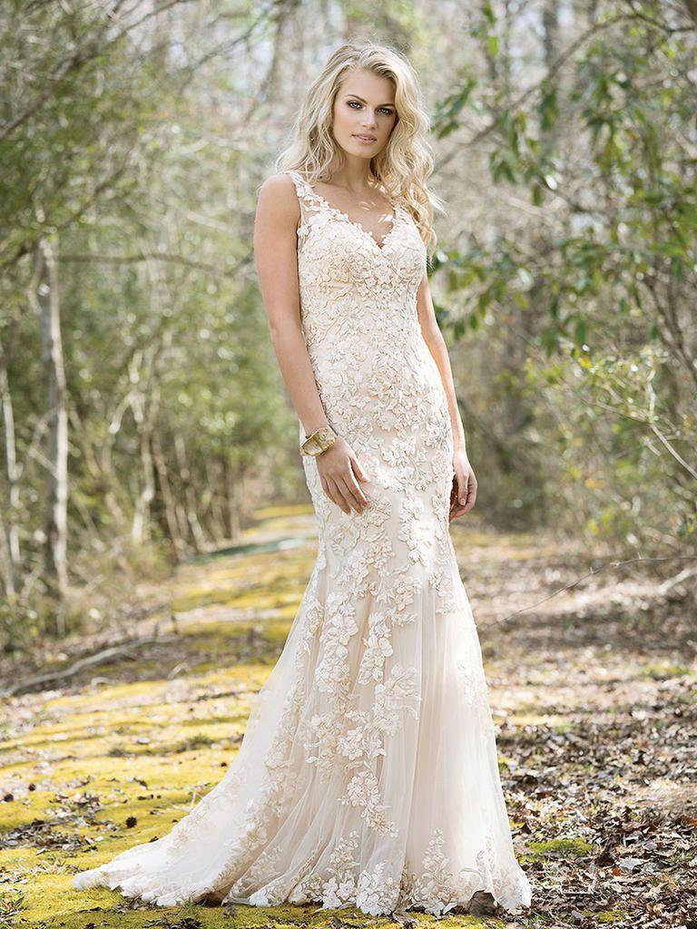Lillian west wedding dress  Lillian West Spring  floral lace vneck shift wedding dress