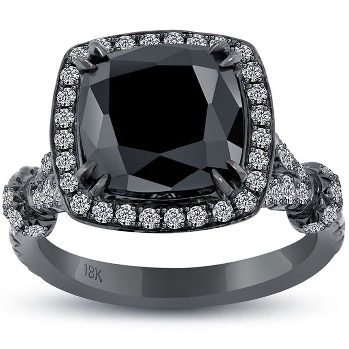 5.09 Carat Cushion Cut Black Diamond Ring 18k Black Gold Pave Halo Vintage Style - Black Diamond Engagement Rings - Engagement