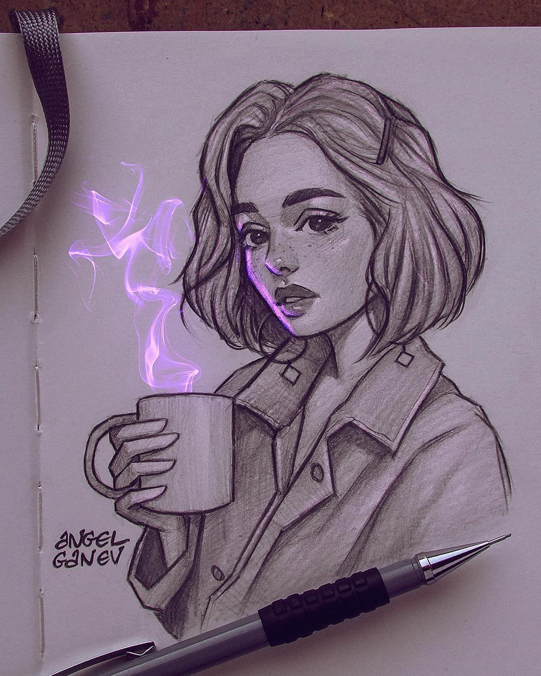 Angel Ganev On Instagram Bright Purple Thing Sketch Trying To Experiment More With Add In 2020 Art Sketches Art Drawings Sketches Art Drawings Sketches Simple