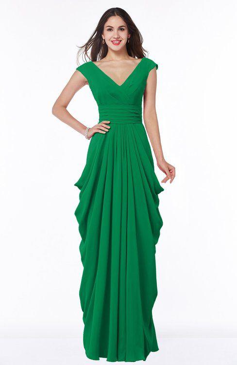 bee939c8b81 Mature V-neck Short Sleeve Chiffon Floor Length Plus Size Bridesmaid Dresses