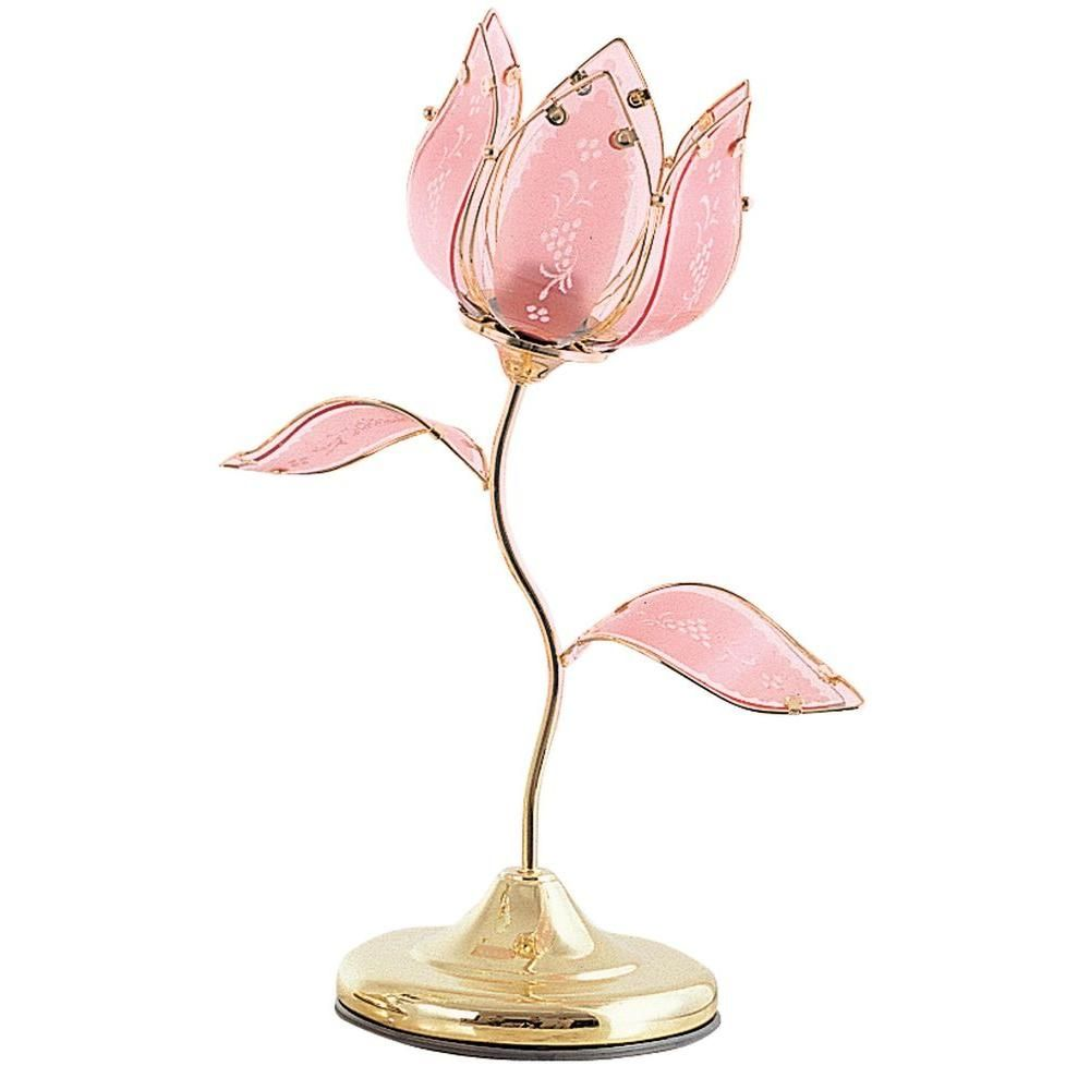 Ok Lighting 20 In Gold Tulip Touch Table Lamp Touch Table Lamps Touch Lamp Flower Lamp