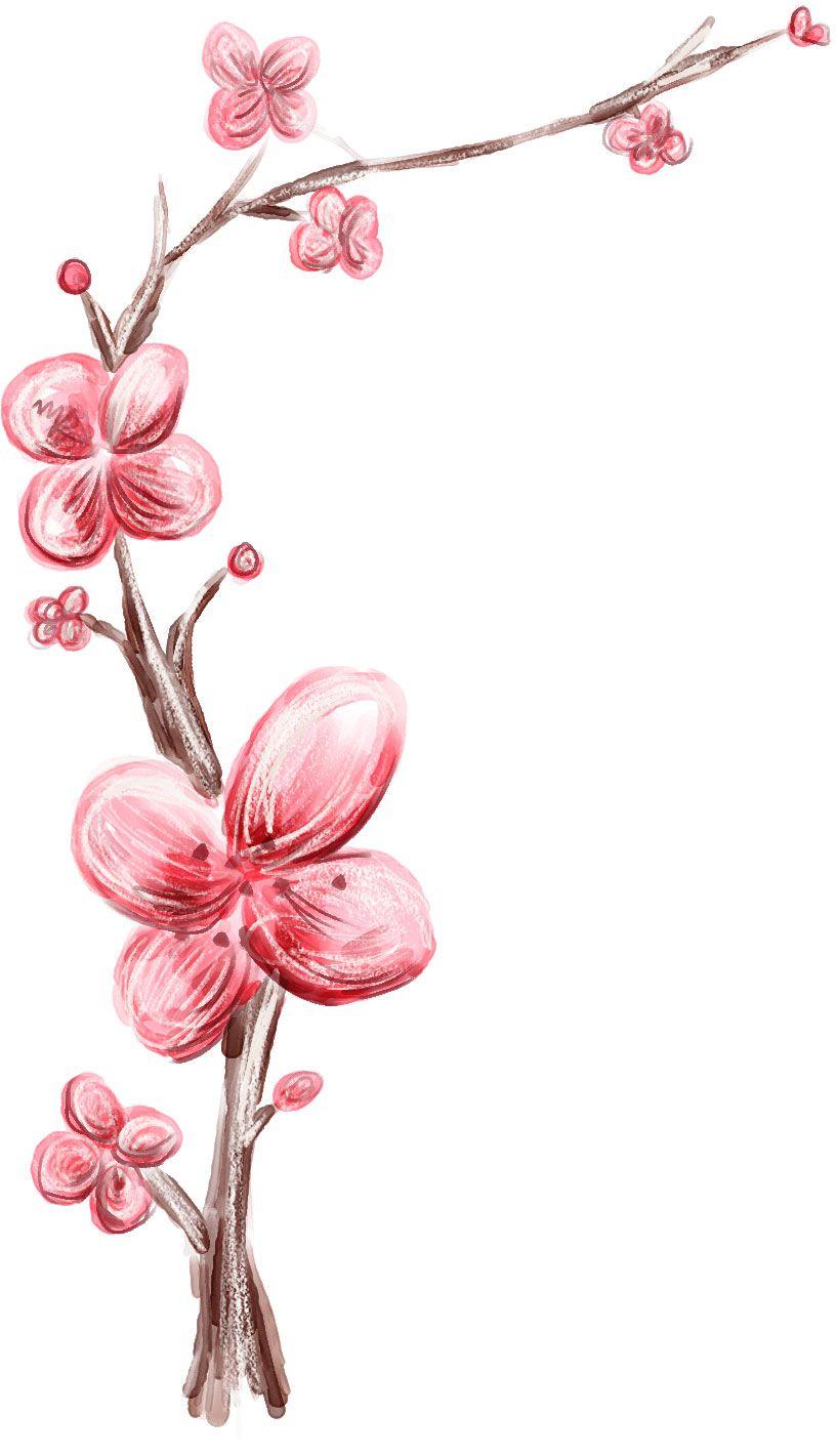 花のライン線イラスト 手書き風 梅の花 梅の花 イラスト梅の