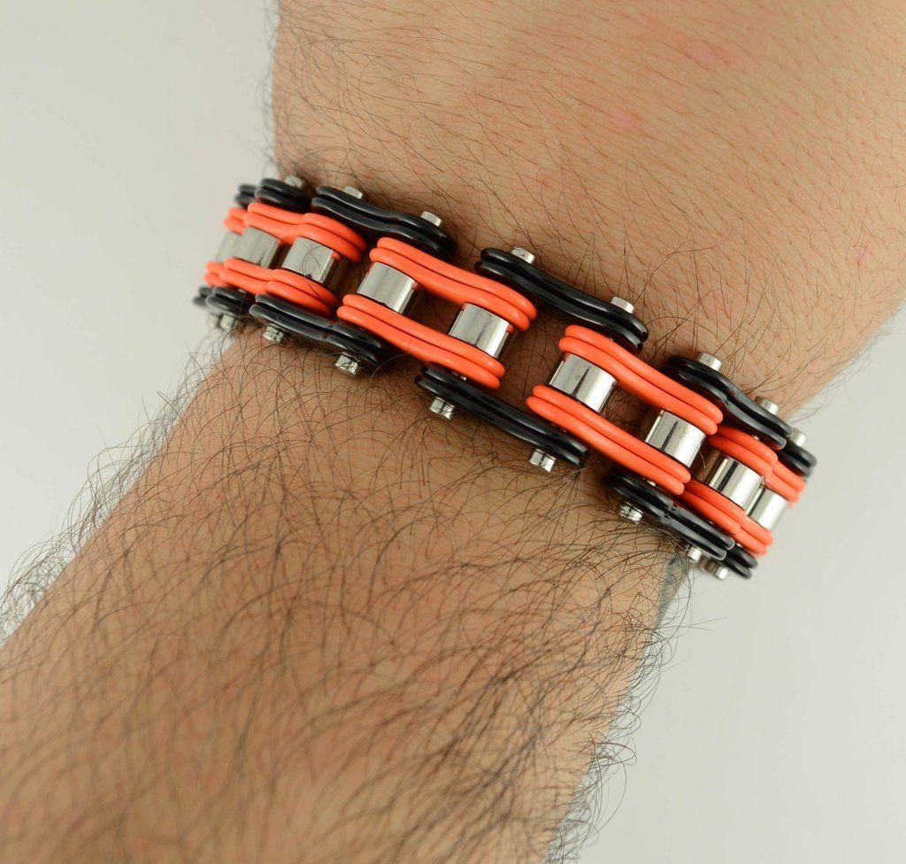 Sk1270 Two Tone Orange Black 3 4 Wide Double Link Design Unisex