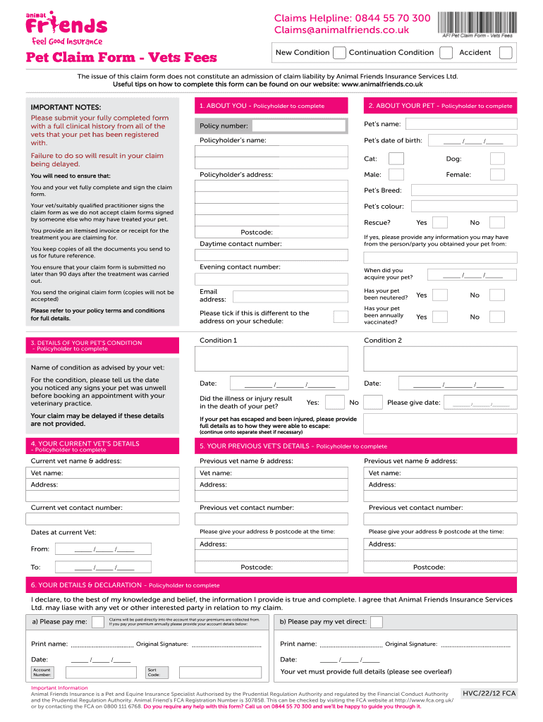 Claim Form Animal Friends Seven Top Risks Of Claim Form Animal