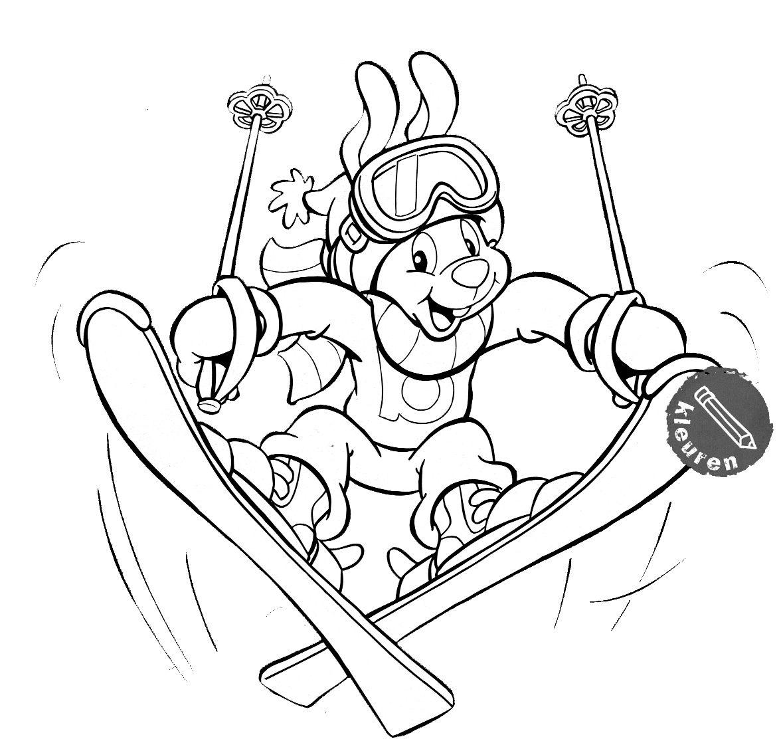 Kleurplaten Wintersport.Kleurplaat Wintersport Winter Sporty Sports