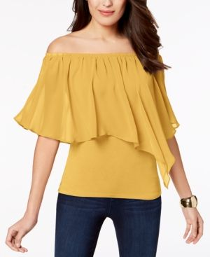cfd2fa8367fb Thalia Sodi Convertible Off-The-Shoulder Top, Created for Macy's - Yellow  XXL