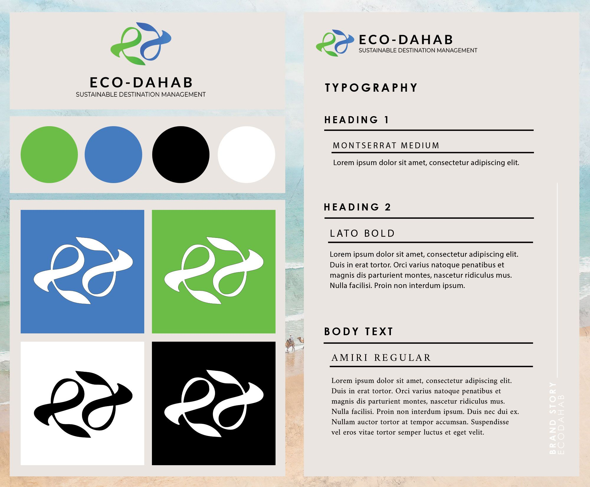 Style Guide for our Partners Eco Dahab, pioneers in eco tourism. Click hear to learn more about our creative branding process and services . #tablocreative #unconventionalcreative #unconventionalcreatives #creativeagency #thecreatorclass #thesix #hypetoronto #torontocreativeentrepreneurs #designinspo  #designinspo #brandidentity #instadesign #graphicdesign #artdirection #colorinspiration #moodboard #digitaldesign #typography #logodesign #styleguide