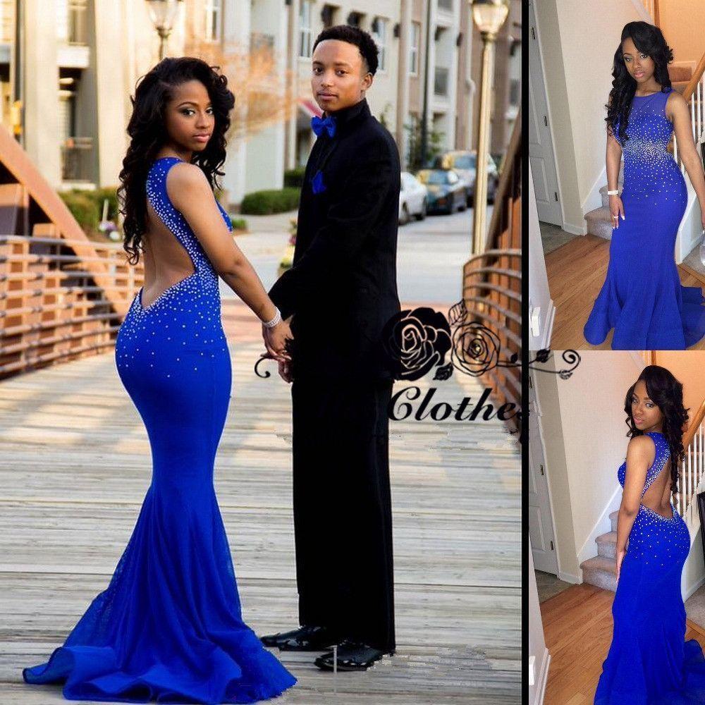 Open back royal blue mermaid sleeveless sexy cheap long prom dress